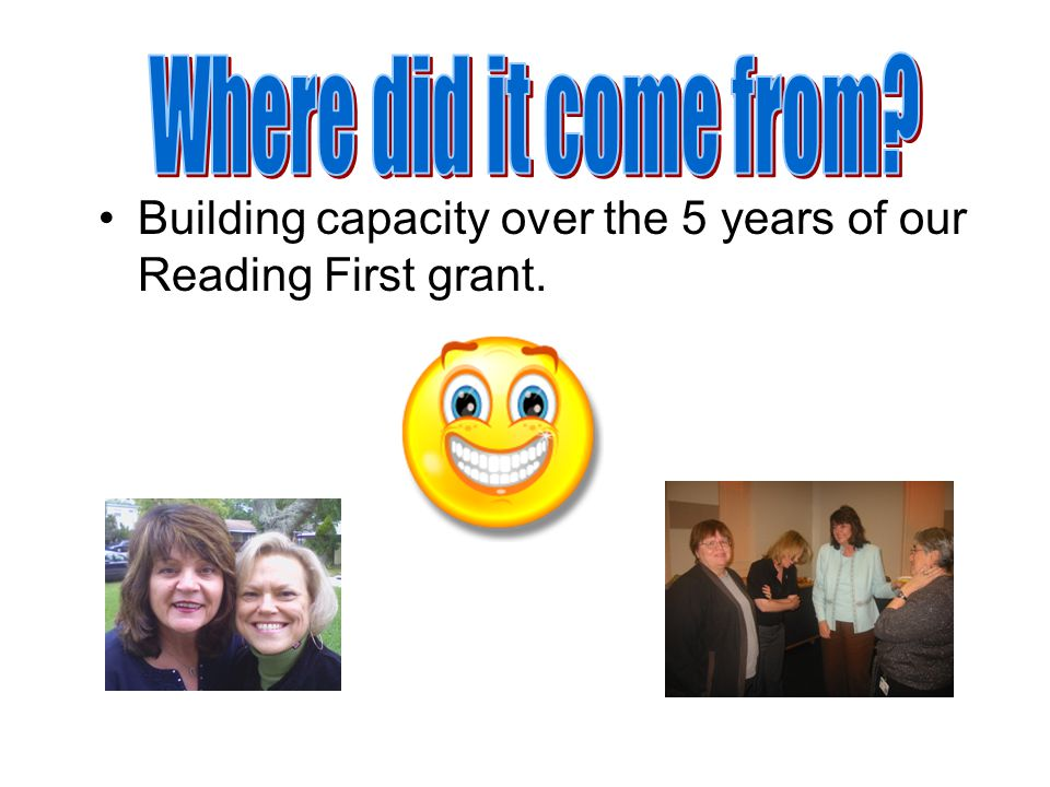 Building capacity over the 5 years of our Reading First grant.