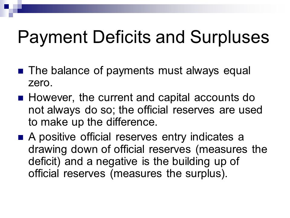 Payment Deficits and Surpluses The balance of payments must always equal zero.