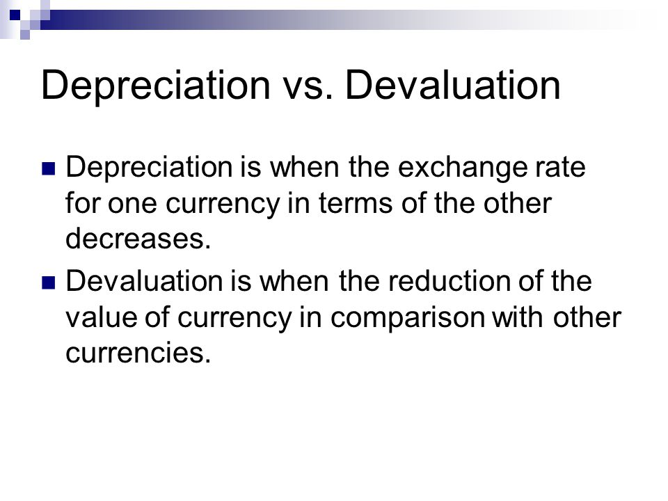 Depreciation vs.