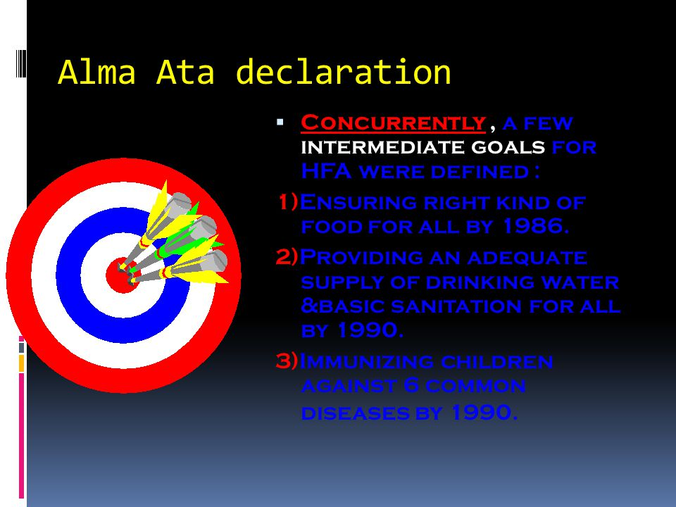  Concurrently, a few intermediate goals for HFA were defined : 1)Ensuring right kind of food for all by 1986.