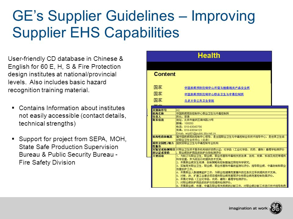  Contains Information about institutes not easily accessible (contact details, technical strengths)  Support for project from SEPA, MOH, State Safe Production Supervision Bureau & Public Security Bureau - Fire Safety Division China Design Institute Database Project GE's Supplier Guidelines – Improving Supplier EHS Capabilities User-friendly CD database in Chinese & English for 60 E, H, S & Fire Protection design institutes at national/provincial levels.