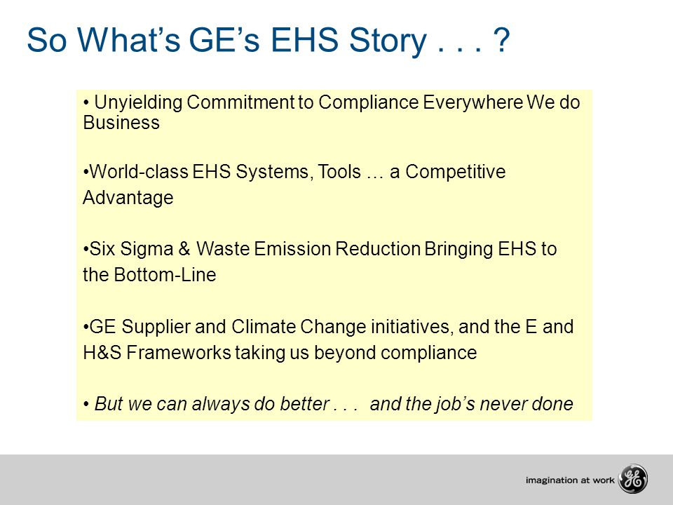 So What's GE's EHS Story...