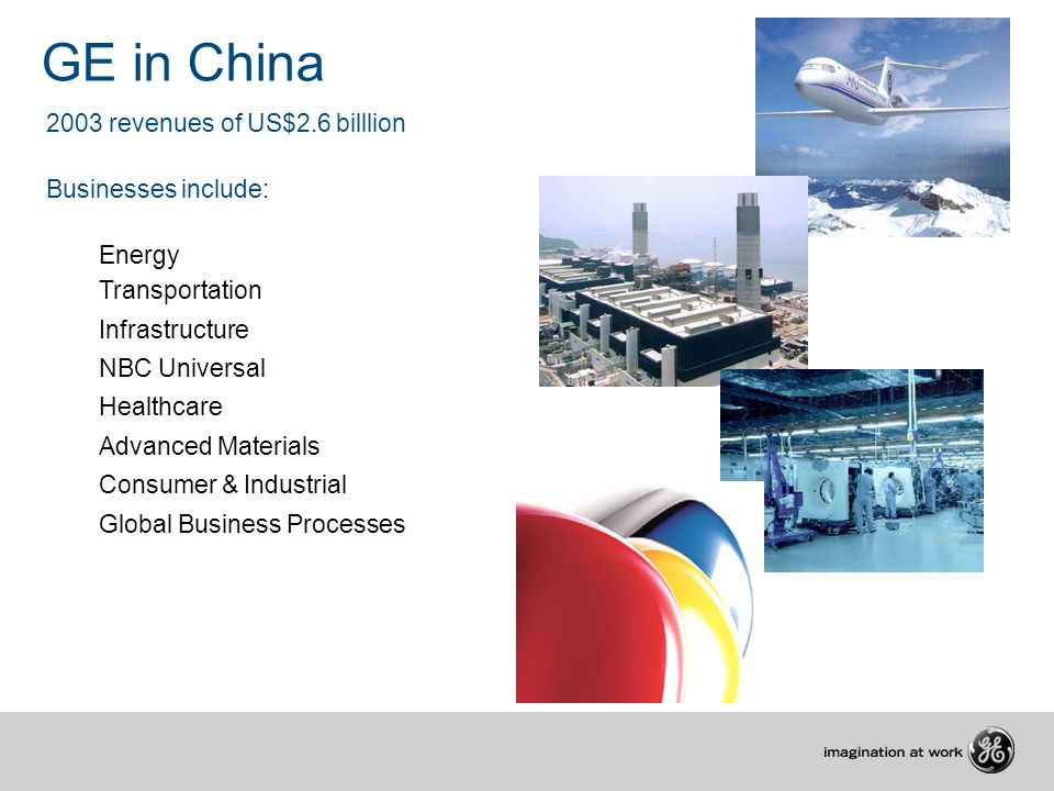 2003 revenues of US$2.6 billlion Businesses include: Energy Transportation Infrastructure NBC Universal Healthcare Advanced Materials Consumer & Industrial Global Business Processes GE in China