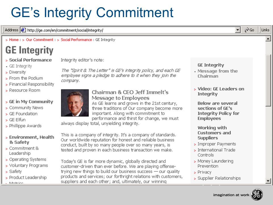 GE's Integrity Commitment