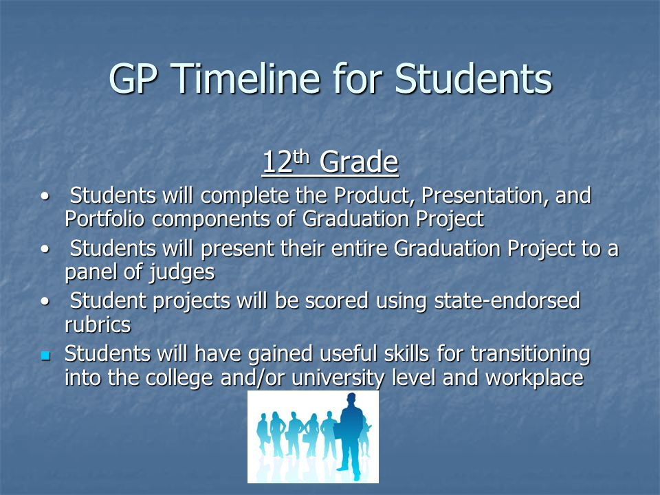 GP Timeline for Students 12 th Grade Students will complete the Product, Presentation, and Portfolio components of Graduation Project Students will complete the Product, Presentation, and Portfolio components of Graduation Project Students will present their entire Graduation Project to a panel of judges Students will present their entire Graduation Project to a panel of judges Student projects will be scored using state-endorsed rubrics Student projects will be scored using state-endorsed rubrics Students will have gained useful skills for transitioning into the college and/or university level and workplace Students will have gained useful skills for transitioning into the college and/or university level and workplace