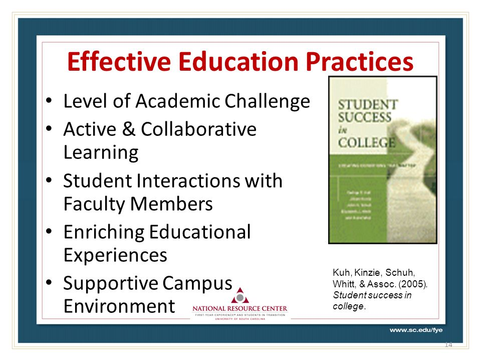 Effective Education Practices Level of Academic Challenge Active & Collaborative Learning Student Interactions with Faculty Members Enriching Educational Experiences Supportive Campus Environment 14 Kuh, Kinzie, Schuh, Whitt, & Assoc.