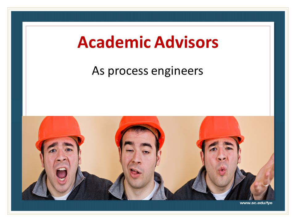 Academic Advisors As process engineers