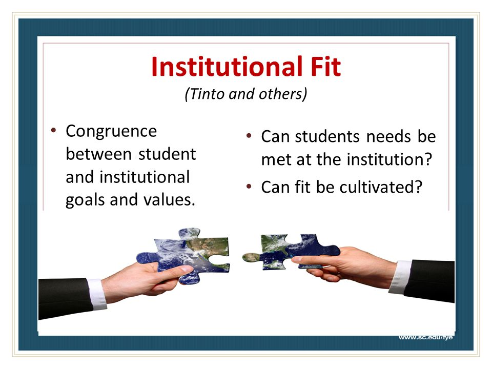 Institutional Fit (Tinto and others) Congruence between student and institutional goals and values.