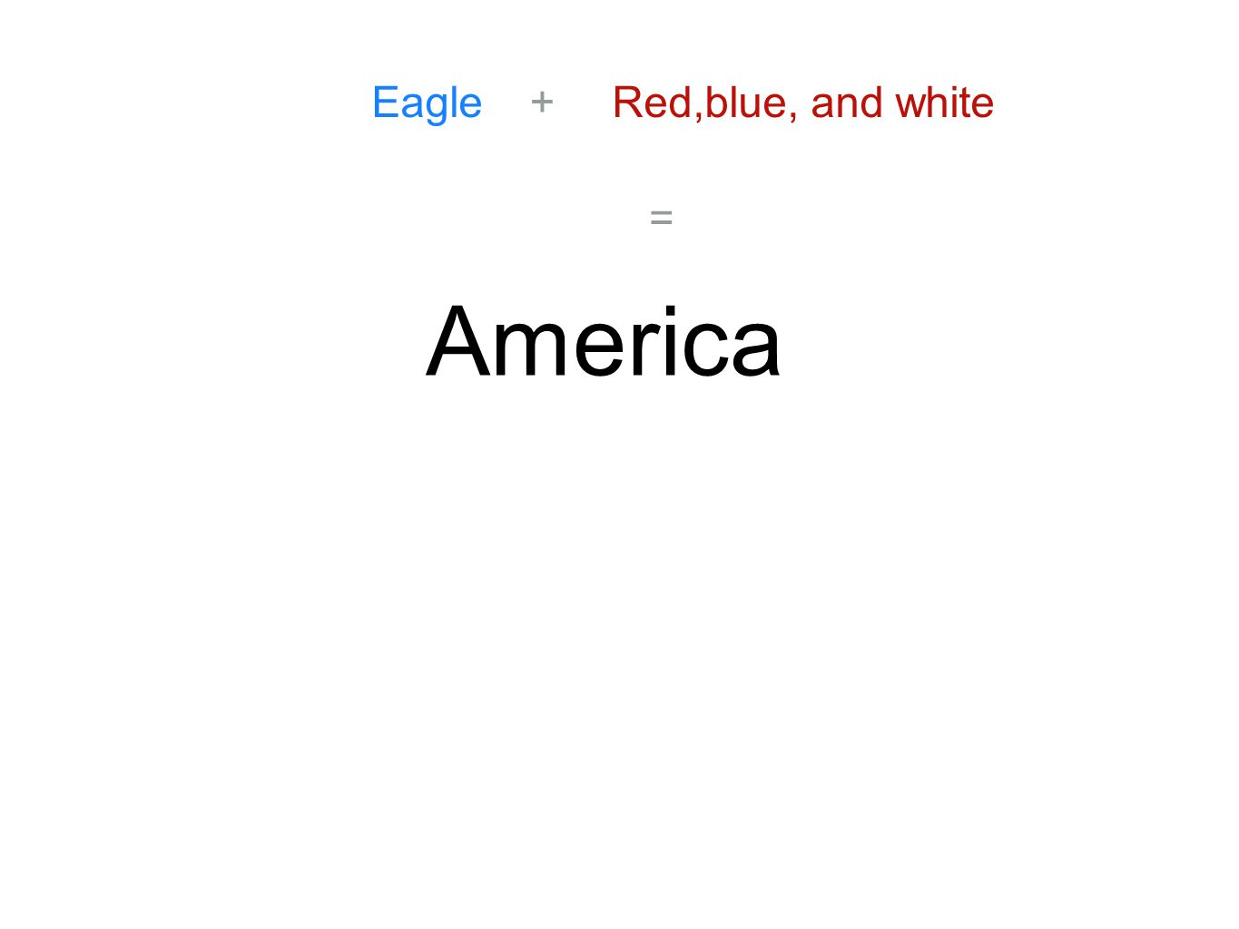 Eagle+Red,blue, and white = America