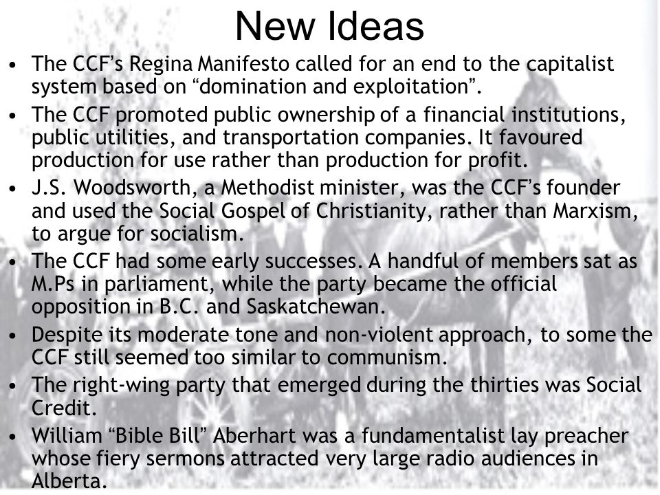 New Ideas The CCF ' s Regina Manifesto called for an end to the capitalist system based on domination and exploitation .