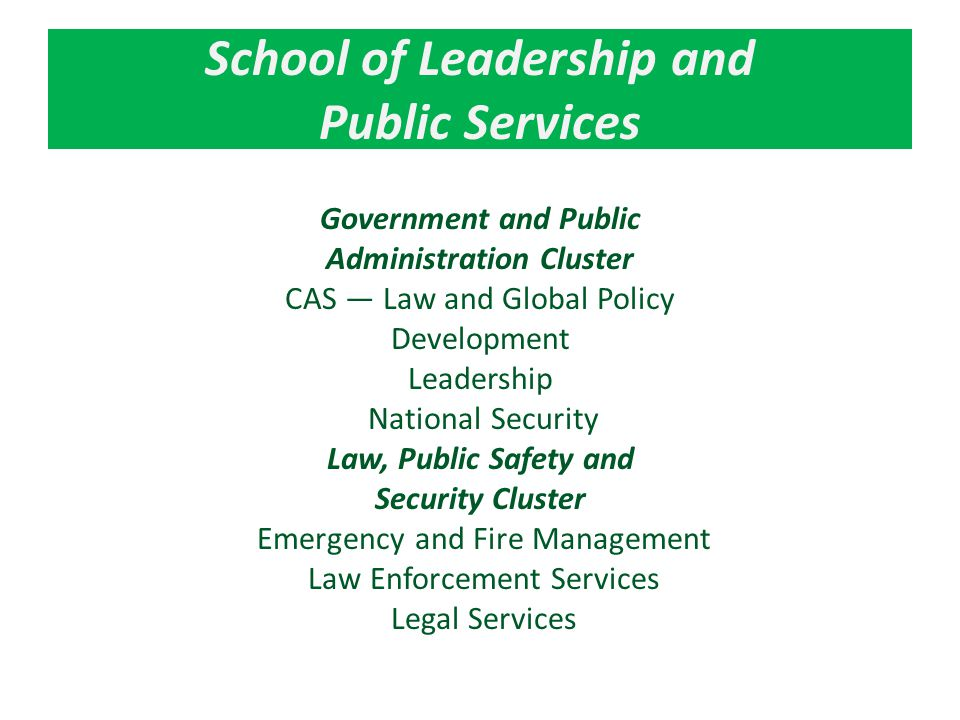 School of Leadership and Public Services Government and Public Administration Cluster CAS — Law and Global Policy Development Leadership National Security Law, Public Safety and Security Cluster Emergency and Fire Management Law Enforcement Services Legal Services