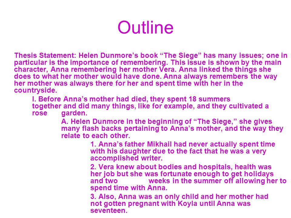 Outline Thesis Statement: Helen Dunmore's book The Siege has many issues; one in particular is the importance of remembering.