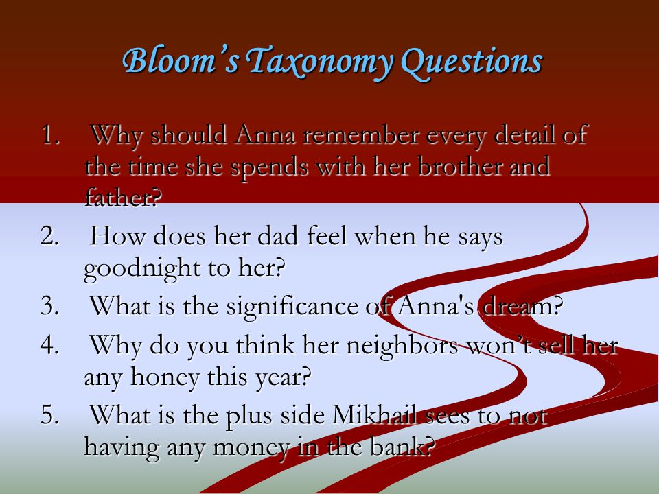 Bloom's Taxonomy Questions 1.