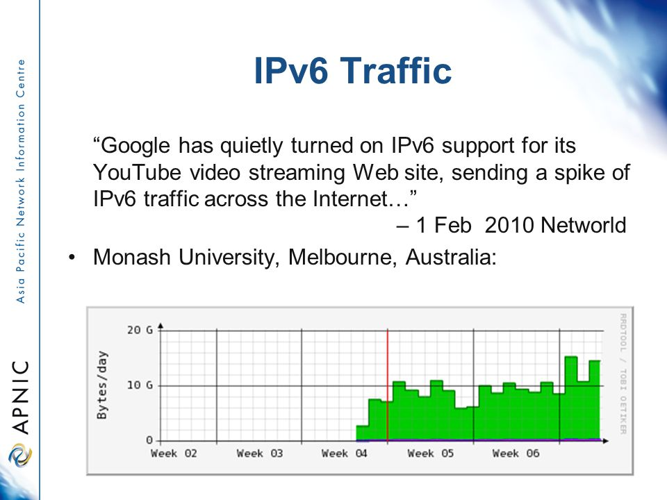 Google has quietly turned on IPv6 support for its YouTube video streaming Web site, sending a spike of IPv6 traffic across the Internet… – 1 Feb 2010 Networld Monash University, Melbourne, Australia: IPv6 Traffic