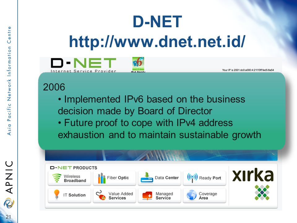 D-NET http://www.dnet.net.id/ 2006 Implemented IPv6 based on the business decision made by Board of Director Future proof to cope with IPv4 address exhaustion and to maintain sustainable growth 21