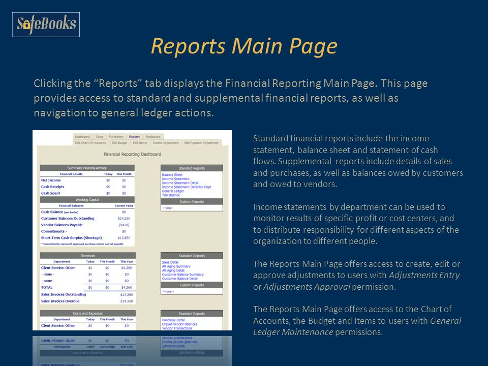 Reports Main Page Clicking the Reports tab displays the Financial Reporting Main Page.