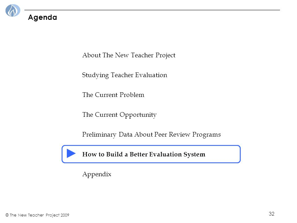32 © The New Teacher Project 2009 Agenda About The New Teacher Project Studying Teacher Evaluation The Current Problem The Current Opportunity Preliminary Data About Peer Review Programs How to Build a Better Evaluation System Appendix