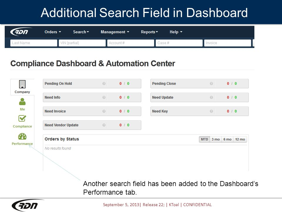 September 5, 2013| Release 22; | KToal | CONFIDENTIAL Additional Search Field in Dashboard Another search field has been added to the Dashboard's Performance tab.