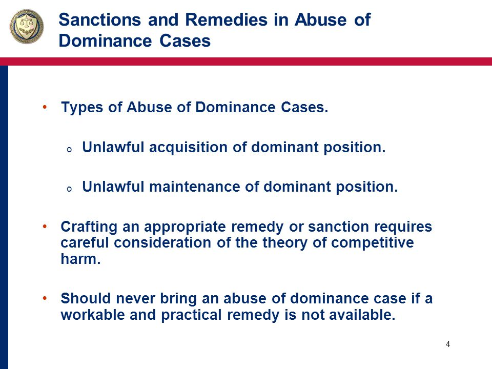 4 Sanctions and Remedies in Abuse of Dominance Cases Types of Abuse of Dominance Cases.