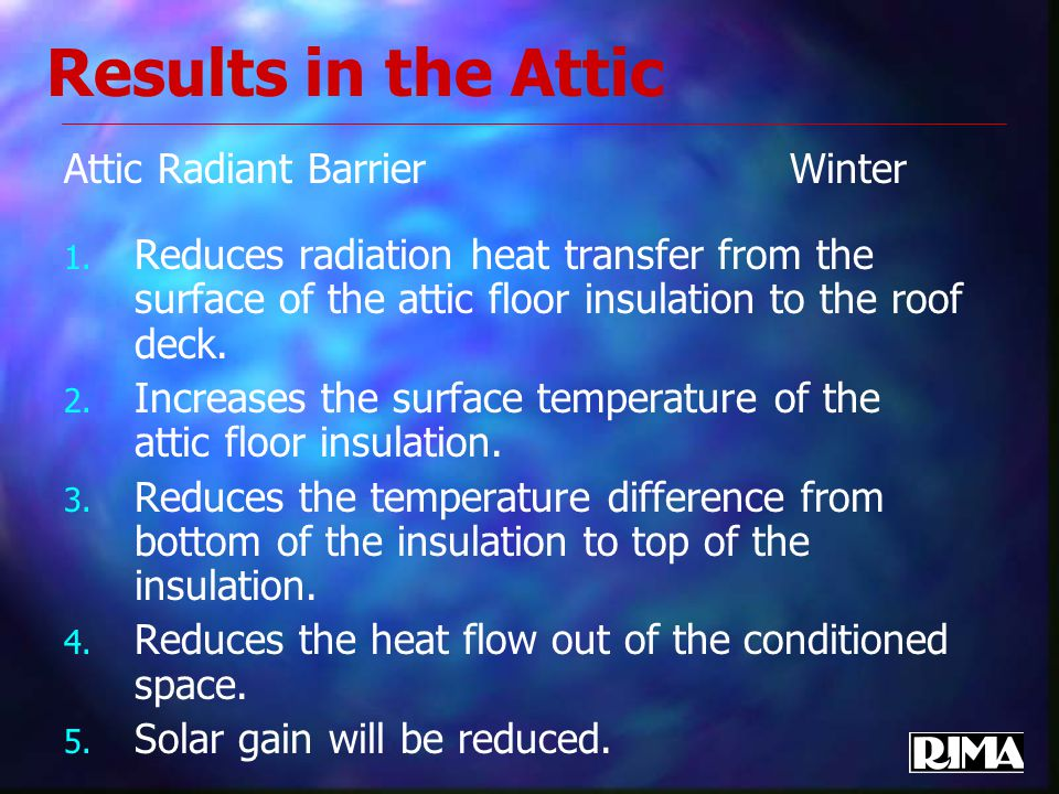 Results in the Attic Attic Radiant Barrier Winter 1.