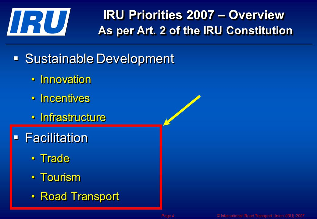 © International Road Transport Union (IRU) 2007 Page 4 IRU Priorities 2007 – Overview As per Art.