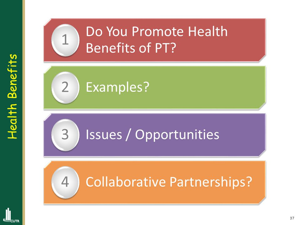 37 Do You Promote Health Benefits of PT. 1 Examples.