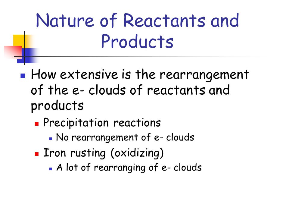 Nature of Reactants and Products How extensive is the rearrangement of the e- clouds of reactants and products Precipitation reactions No rearrangement of e- clouds Iron rusting (oxidizing) A lot of rearranging of e- clouds
