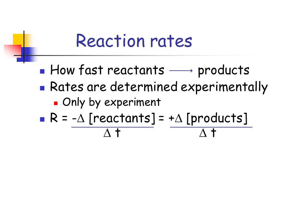 Reaction rates How fast reactants products Rates are determined experimentally Only by experiment R = -  [reactants] = +  [products]  t  t