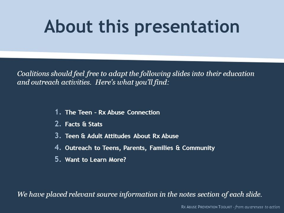 Coalitions should feel free to adapt the following slides into their education and outreach activities.