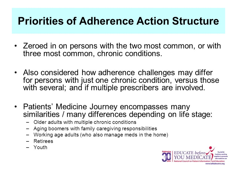 Priorities of Adherence Action Structure Zeroed in on persons with the two most common, or with three most common, chronic conditions.