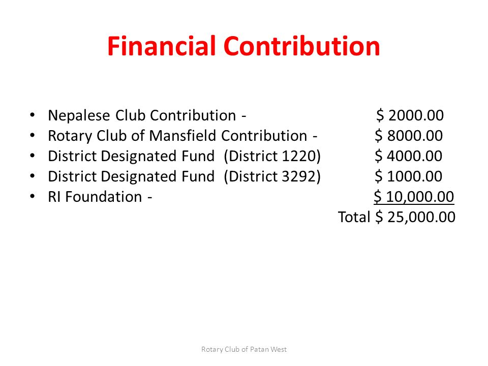 Financial Contribution Nepalese Club Contribution - $ 2000.00 Rotary Club of Mansfield Contribution - $ 8000.00 District Designated Fund (District 1220) $ 4000.00 District Designated Fund (District 3292) $ 1000.00 RI Foundation - $ 10,000.00 Total $ 25,000.00 Rotary Club of Patan West