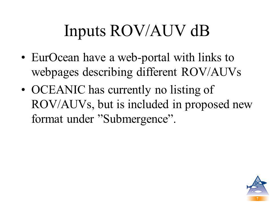 7 7 Inputs ROV/AUV dB EurOcean have a web-portal with links to webpages describing different ROV/AUVs OCEANIC has currently no listing of ROV/AUVs, but is included in proposed new format under Submergence .