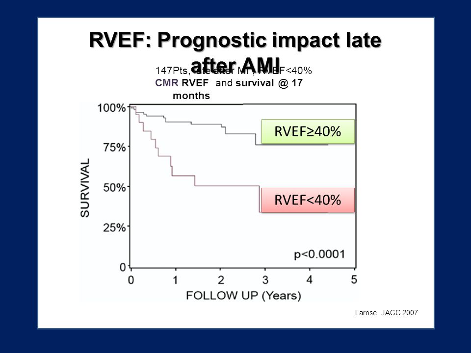 Larose 147Pts, late after MI, RVEF<40% CMR RVEF and survival @ 17 months Larose JACC 2007 RVEF: Prognostic impact late after AMI RVEF<40% RVEF≥40%
