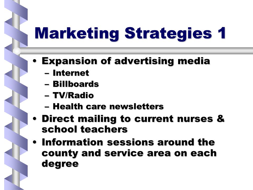 Marketing Strategies 1 Expansion of advertising mediaExpansion of advertising media –Internet –Billboards –TV/Radio –Health care newsletters Direct mailing to current nurses & school teachersDirect mailing to current nurses & school teachers Information sessions around the county and service area on each degreeInformation sessions around the county and service area on each degree