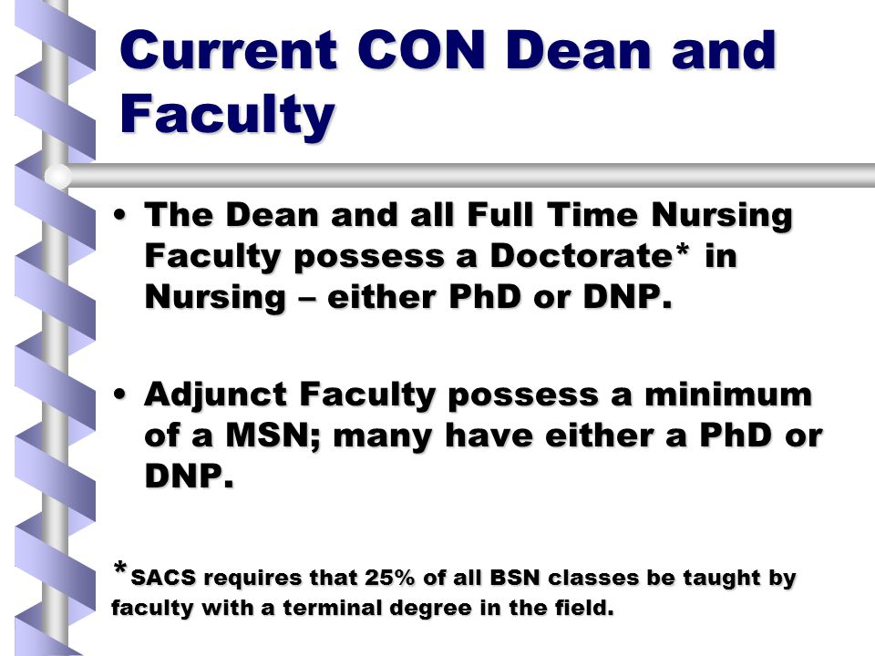 Current CON Dean and Faculty The Dean and all Full Time Nursing Faculty possess a Doctorate* in Nursing – either PhD or DNP.The Dean and all Full Time Nursing Faculty possess a Doctorate* in Nursing – either PhD or DNP.
