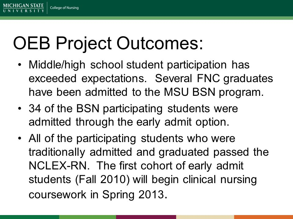 OEB Project Outcomes: Middle/high school student participation has exceeded expectations.