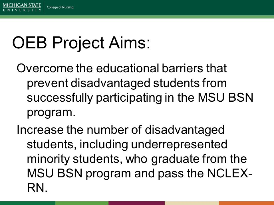 OEB Project Aims: Overcome the educational barriers that prevent disadvantaged students from successfully participating in the MSU BSN program.