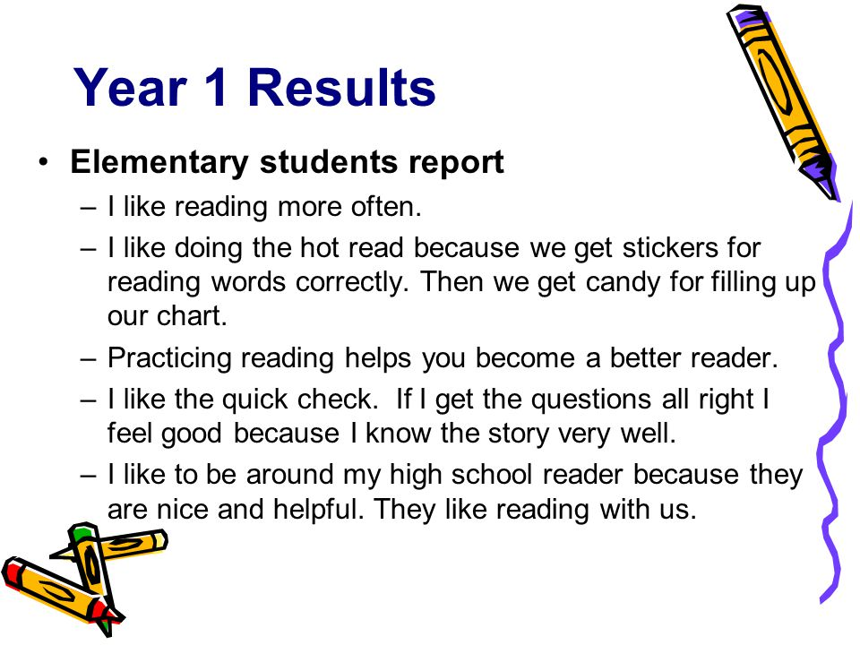 Year 1 Results Elementary students report –I like reading more often.