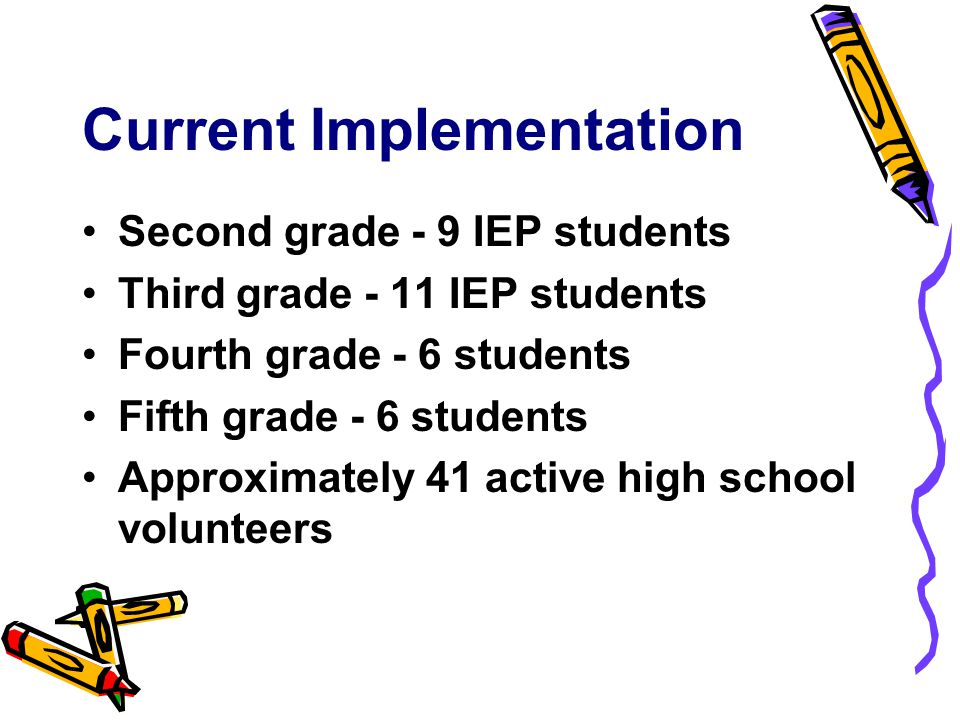 Current Implementation Second grade - 9 IEP students Third grade - 11 IEP students Fourth grade - 6 students Fifth grade - 6 students Approximately 41 active high school volunteers