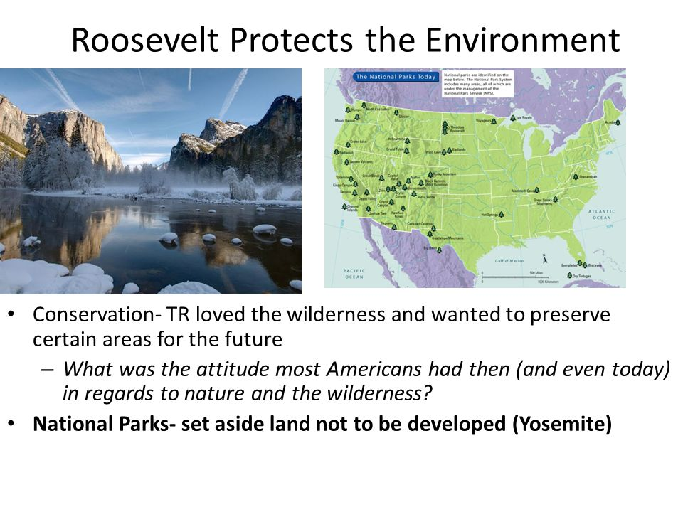 Roosevelt Protects the Environment Conservation- TR loved the wilderness and wanted to preserve certain areas for the future – What was the attitude most Americans had then (and even today) in regards to nature and the wilderness.