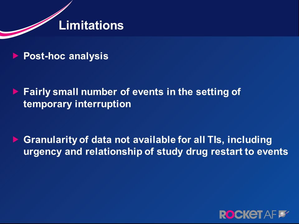Limitations  Post-hoc analysis  Fairly small number of events in the setting of temporary interruption  Granularity of data not available for all TIs, including urgency and relationship of study drug restart to events