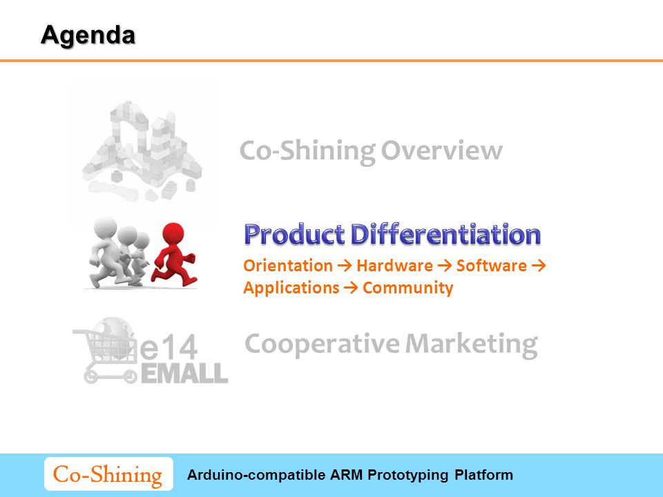 Arduino-compatible ARM Prototyping Platform Co-Shining Co-Shining Overview Cooperative Marketing Orientation → Hardware → Software → Applications → Community Agenda
