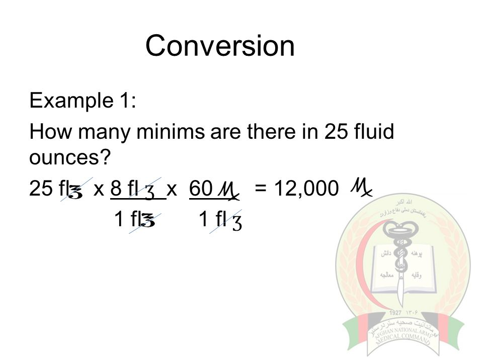 Conversion Example 1: How many minims are there in 25 fluid ounces.