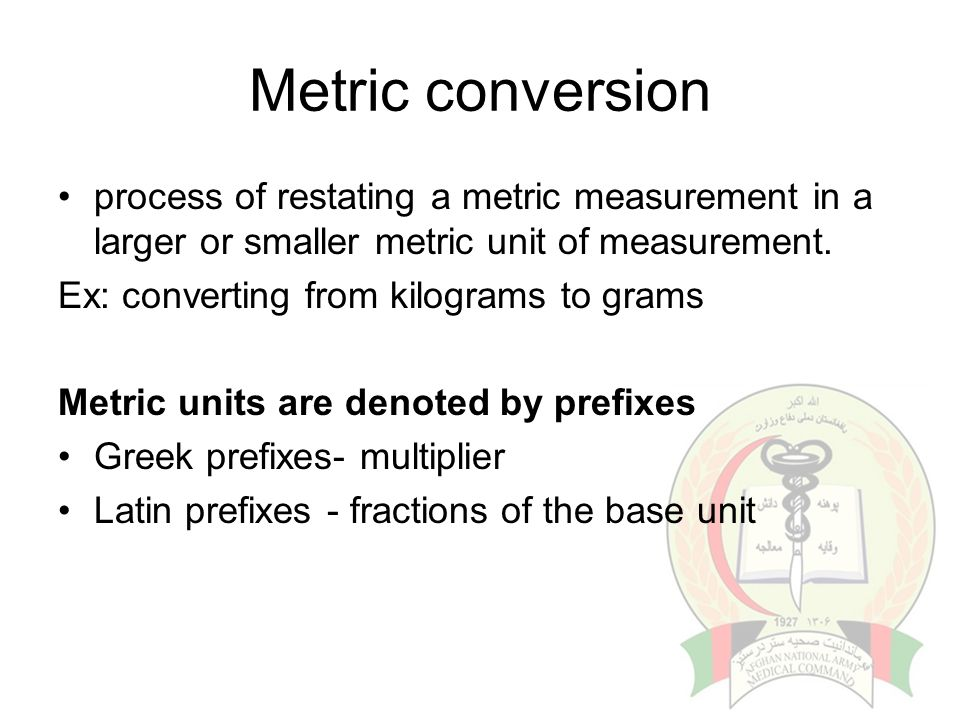 Metric conversion process of restating a metric measurement in a larger or smaller metric unit of measurement.