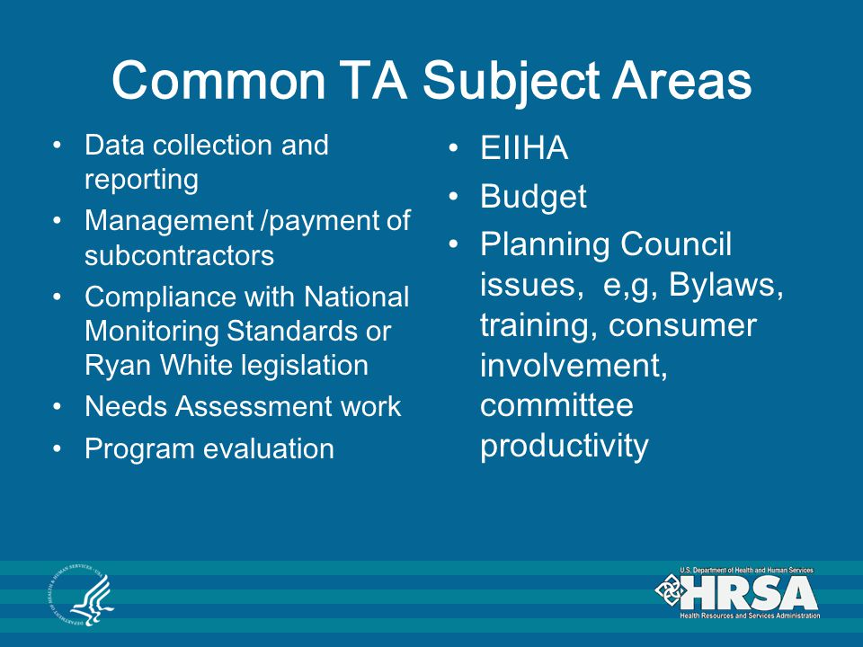 Common TA Subject Areas Data collection and reporting Management /payment of subcontractors Compliance with National Monitoring Standards or Ryan White legislation Needs Assessment work Program evaluation EIIHA Budget Planning Council issues, e,g, Bylaws, training, consumer involvement, committee productivity