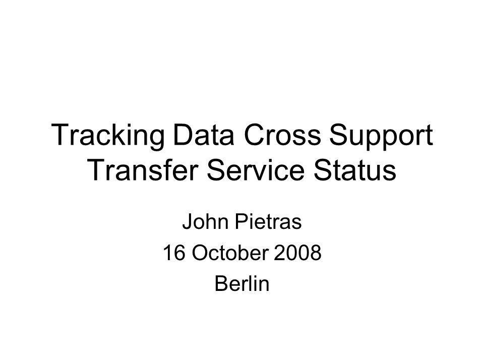 John Pietras 16 October 2008 Berlin Tracking Data Cross Support Transfer Service Status