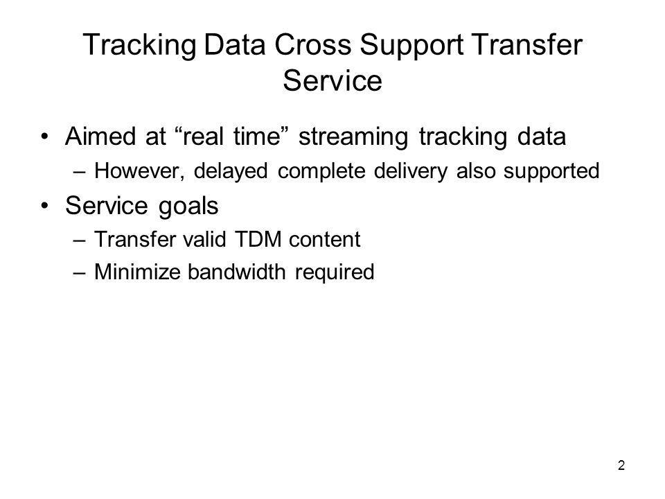 2 Tracking Data Cross Support Transfer Service Aimed at real time streaming tracking data –However, delayed complete delivery also supported Service goals –Transfer valid TDM content –Minimize bandwidth required