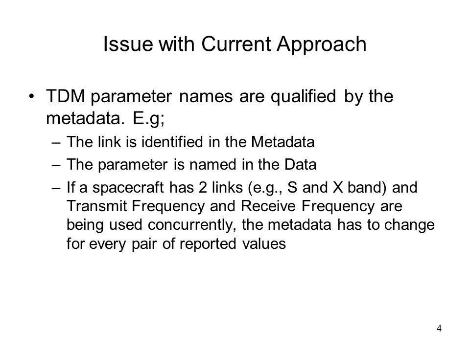 4 Issue with Current Approach TDM parameter names are qualified by the metadata.