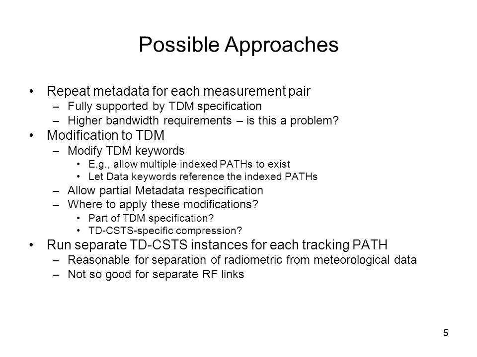 5 Possible Approaches Repeat metadata for each measurement pair –Fully supported by TDM specification –Higher bandwidth requirements – is this a problem.