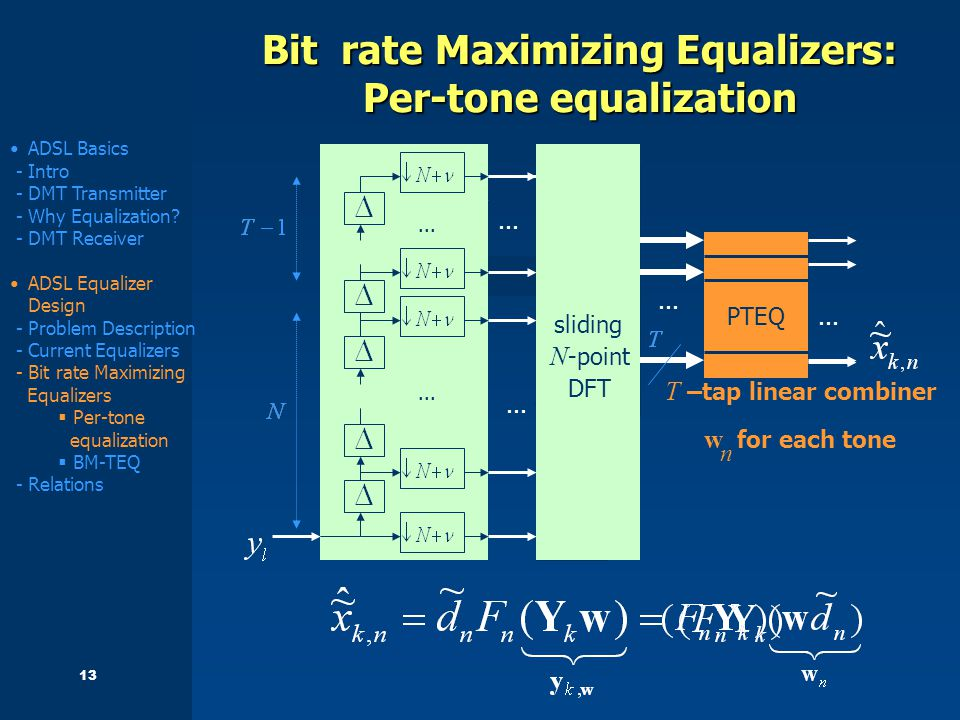 13 Bit rate Maximizing Equalizers: Per-tone equalization S/P...